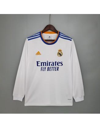 2021-2022 Real Madrid Home Football Jersey Long Sleeve